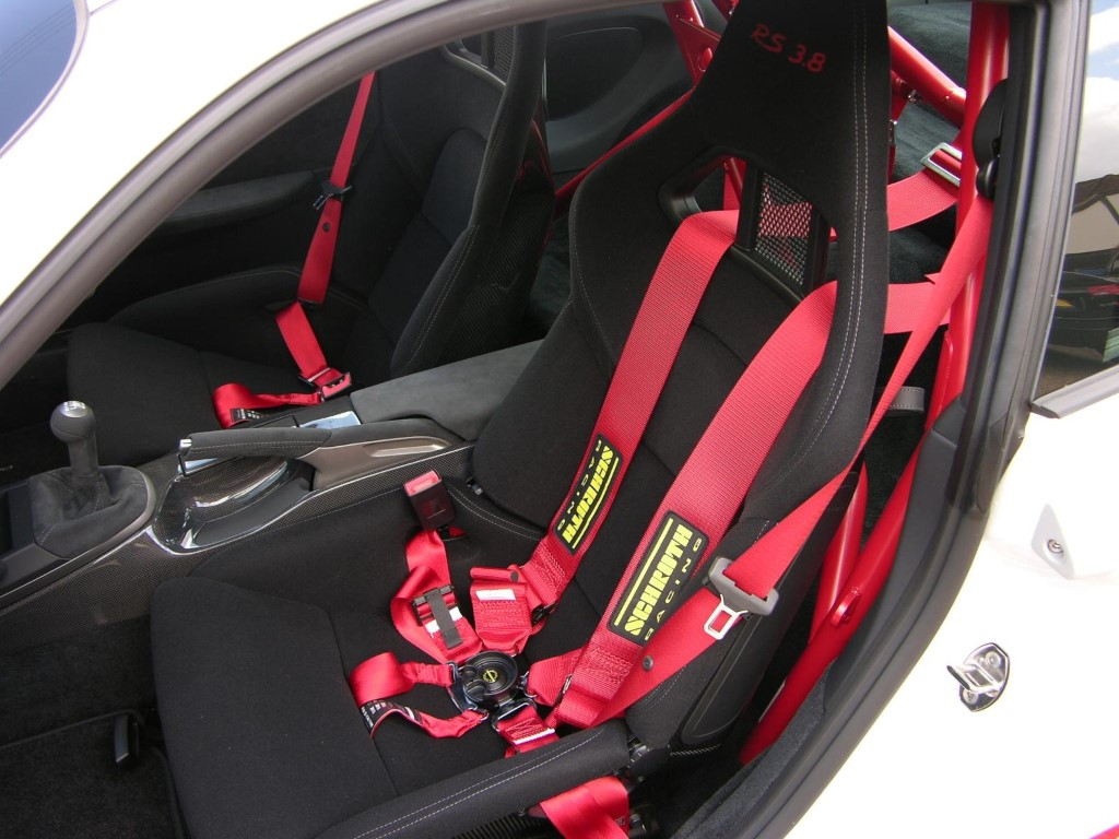 Bucket seat with Schroth six point harness in a 2010 Porsche 997 GT3 RS 3.8 Custom